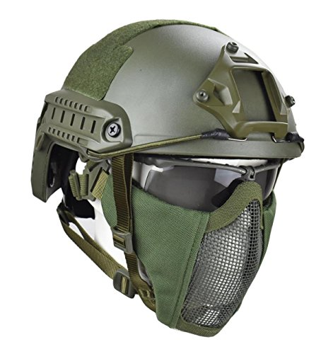 Jffcestore MH Updated Version Fast Tactical Helmet Combined with Foldable Half Face Mesh Mask and Goggles for Paintball CS Game Set(Green)