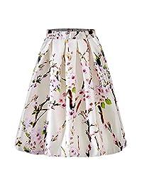 Binghang Falda Plisada Clásico con Estampado Floral, Faldas Medias de Línea A