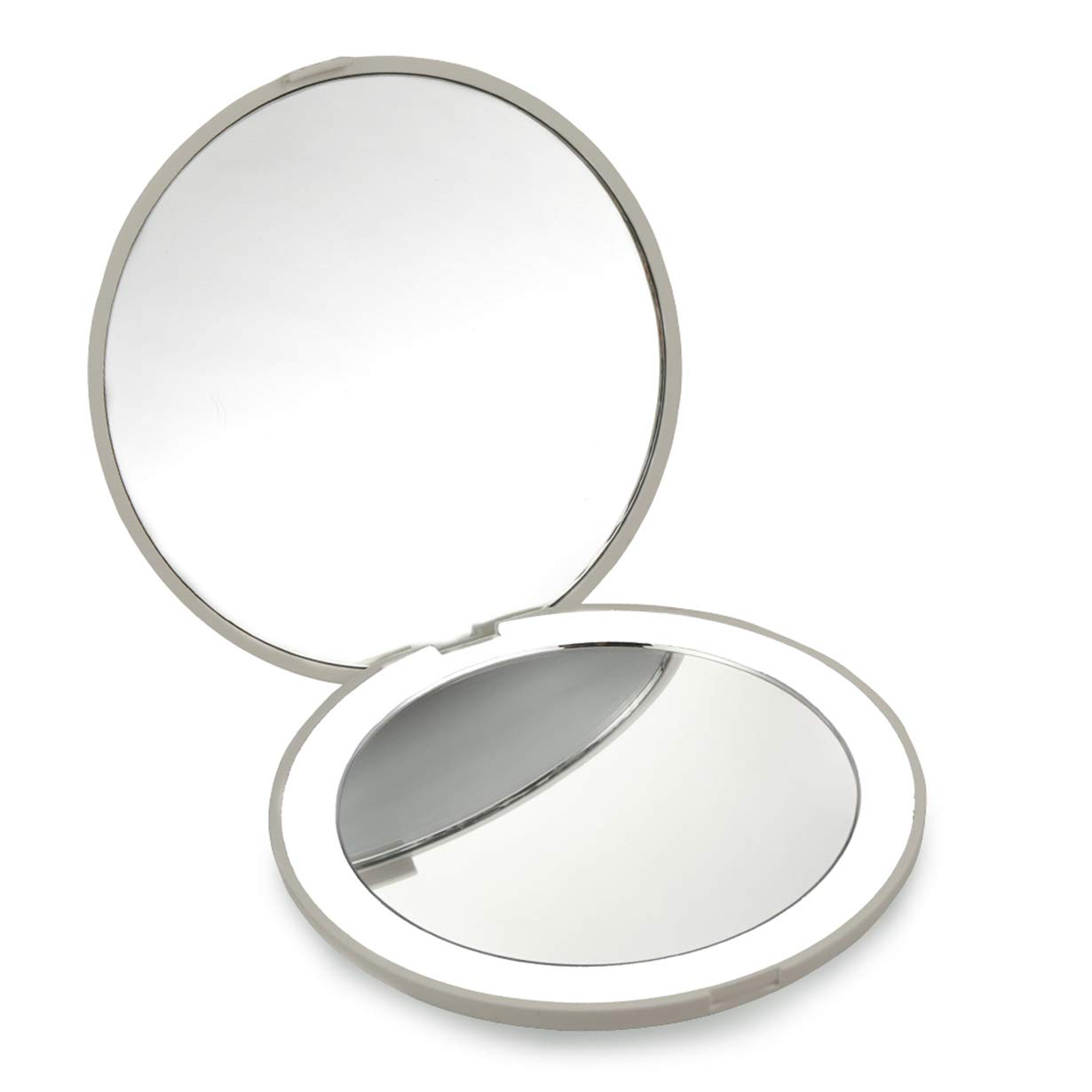 Best Compact Mirror- 10X MAGNIFYING Mirror with Light- Small Travel Mirror for Pocket- Portable LED Lighted Makeup Mirror, Foldable Compact Mirror 1X & 10X Magnification