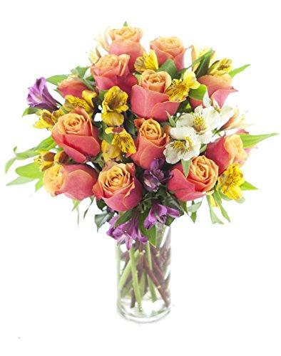 Sunshine Rose   Alstroemeria Bouquet  12 Orange Roses  4 Yellow Alstroemeria  2 White Alstroemeria And 2 Purple Alstroemeria With Vase   By Kabloom