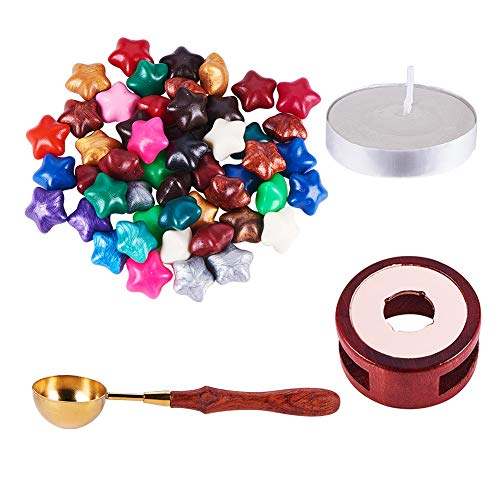 PH PandaHall Wooden Wax Seal Kit - Sealing Stamp Wax Spoon, Vintage Seal Stamp Wax Stick Melting Pot Holder, 4pcs Candle and 50pcs Star Wax Beads No Hole for Wax Stamp Sealing
