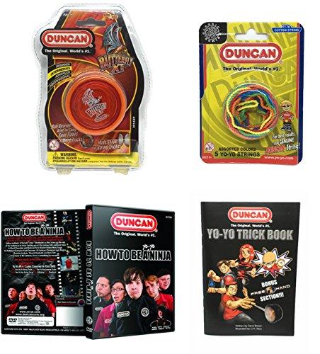 Duncan Intermediate YoYo Kit (4 Items) - Orange Butterfly XT Yo-Yo, Multi-Color Yo-Yo String 5 Pack, Yo-Yo Trick Book, and How to Be A Yo-Yo Ninja DVD