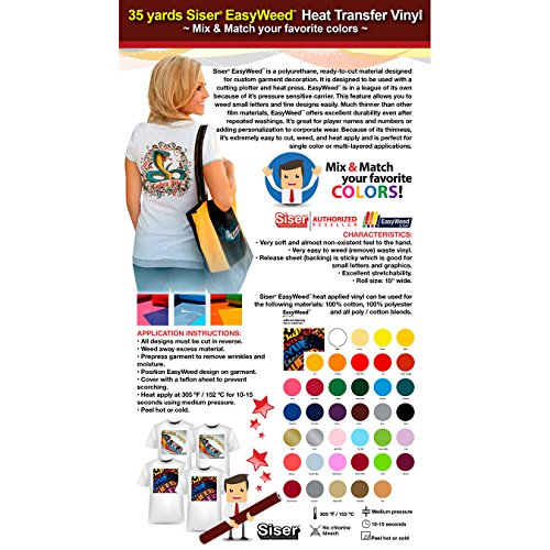 GERCUTTER Store - 35 Yards Siser EasyWeed Heat Transfer Vinyl (Mix & Match your favorite colors) by GERCUTTER USA