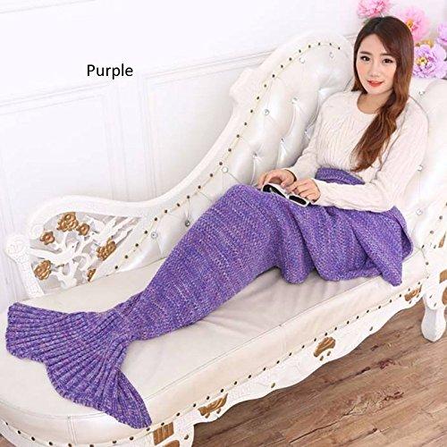 Purple-Bedding Sofa Mermaid Blanket Wool Knitting Fish Style