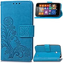 630 635 Case, Lumia 630 635 Case, SATURCASE Lucky Clover PU Leather Flip Magnet Wallet Stand Card Slots Case Cover for Nokia Lumia 630 635 (Blue)