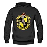 ToWi Women's Harry Potter Hufflepuff Logo Fleece Hoodie Black S