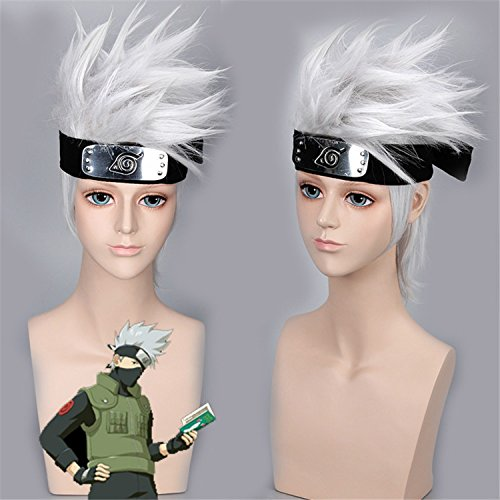 [YX Anime Cosplay Wig Men Halloween Wig+A Free Headband 35CM 14INCH(Silver-white)] (Wigs For Mens)