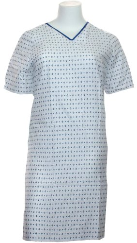 Hospital Gown-basic Iv Gown - White with Blue Prints (4 P...