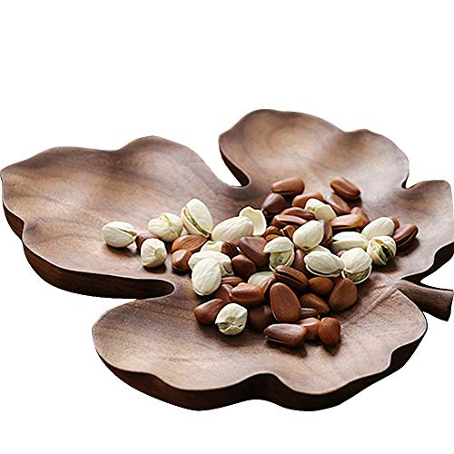 Black Natural Walnut Wood Plates Decorative Leaf Shape Wooden Tray Server for Dessert, Sushi and Cheese (Maple Leaf)