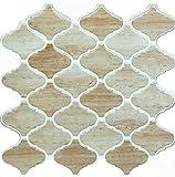 Vamos Tile Wood Grain Arabesque Peel and Stick Tile Backsplash,3D Self Adhesive Wall Tiles for Kitchen & Bathroom-10 x 10''(6 Tiles)