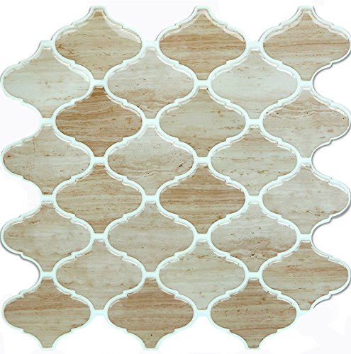 Vamos Tile Wood Grain Arabesque Peel and Stick Tile Backsplash,3D Self Adhesive Wall Tiles for Kitchen & Bathroom-10 x 10(6 ()