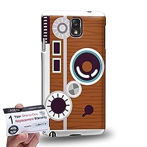 Case88 [Samsung Galaxy Note 3] 3D impresa Carcasa/Funda dura para & Tarjeta de garantía - Art Drawing Retro Rangefinder Camera A