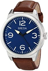 Breda Men's 8183A Stainless Steel Watch With Brown Leather Band