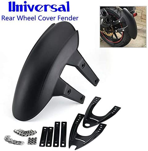 Universal Motorcycle Rear Wheel Cover Fender Splash Guard Mudguard+Bracket Black