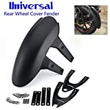 Universal Motorcycle Rear Wheel Cover Fender Splash Guard Mudguard + Bracket kit Black