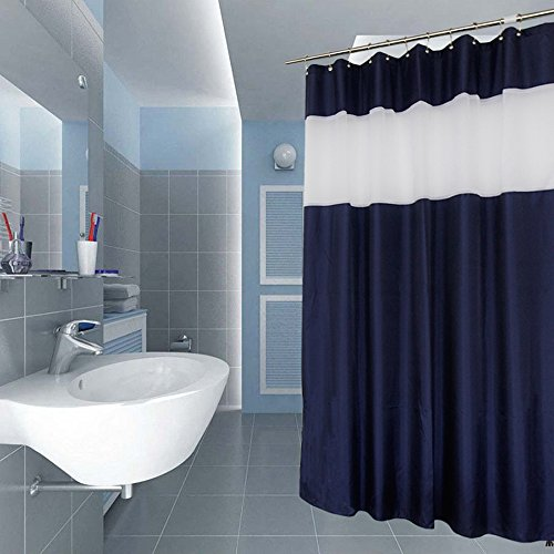 Uphome Bathroom Shower Curtain, Luxury Navy Blue Heavy Duty Sheer Patchwork Fabric Bath Stall Curtain Set, Hotel Quality Waterproof and Mildew Resistant, 72W x 72L