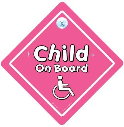 fille signe pour voiture pour voiture Panneau panneau b/éb/é/à bord rose handicap/és Baby on Board handicap/és Enfant sur panneau handicap/és Board 740