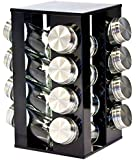 SQ Professional Gems Revolving Metallic Spice Rack with 16 Jars, Onyx