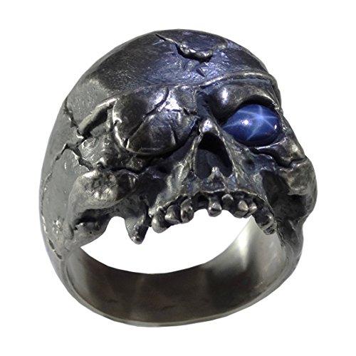 Biker Skull Ring 925 Sterling Silver Custom Harley Masonic Rock Hand Made Rustic Finish Skull 6 Sap (12.5) - Cabochon Sterling Silver Handmade Ring