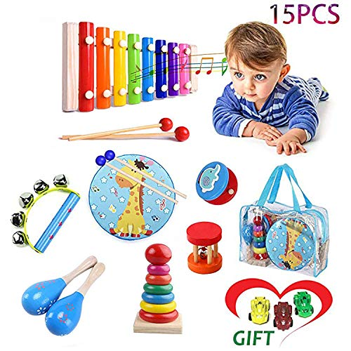 Kids Musical Percussion Instruments Set Wooden Musical Toys For Toddlers Babies Rhythm Instruments 2 3 4 5 6 Years Old Children Educational Music Gift Early Learning For Boys  And Girls With 3 Mini Sports Cars