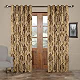 Cheap MICHELE HOME FASHION 50″ W x 96″ L (Set of 2 Panels) Multi Custom Modern Country Rustic Floral Faux Silk Jacquard Grommet Top Energy Efficient Window Treatment Draperies & Curtains Panels