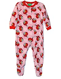 Sesame Street Toddler Girl's Santa Elmo Pink Fleece Footed Christmas Pajama Sleeper