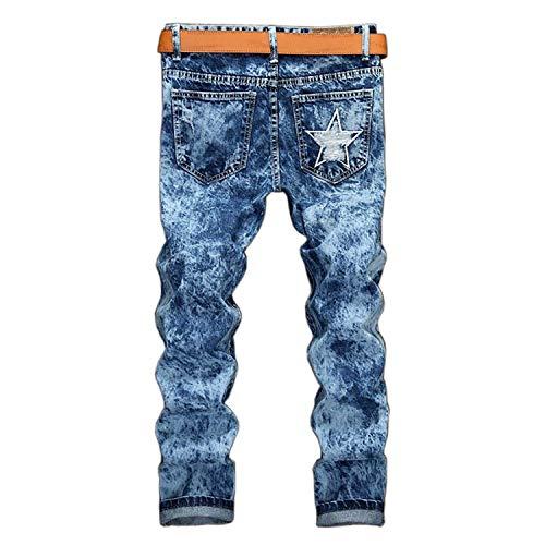 Jeans HX Multi Pantalones Pocket Pantalones Casuales Lavado Blue Denim Badge Estilo Pantalones Cómodos Destroyed Ropa Jeans Colour Mens Clubwear fashion Tamaños r5Sqwxr