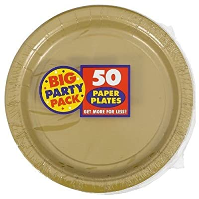 Amscan AMI 650013.19 Amscan Gold Big Party Pack Dinner Plates (50 Count) 1 New
