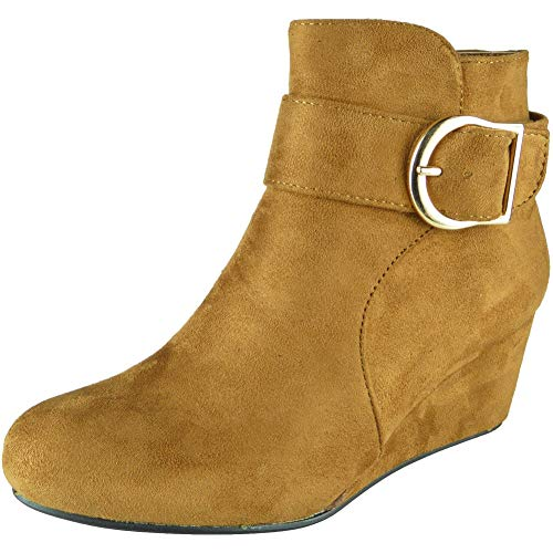Suede Loud Faux 8 Ladies Mid Look Size Boots Womens 3 High Heel Block Ankle Camel Work Chunky Shoes tI1aqIrxw