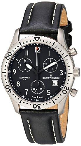 Revue Thommen Airspeed Classic Pilot Titanium Swiss Quartz Black Leather Men's Watch(Model:16001-9597)