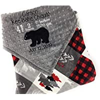 Personalized Minky Baby Blanket with Birth Stats in Gray Black and Red Bear Quilt Design