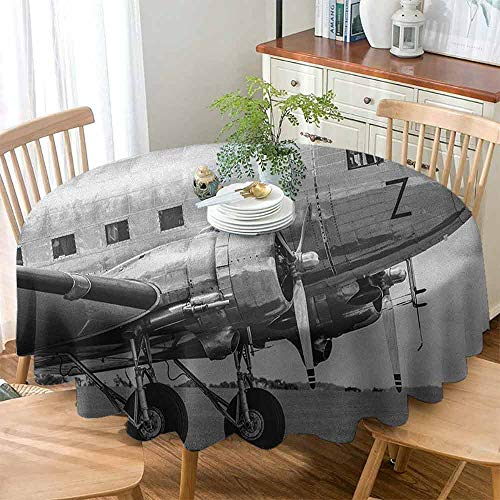 Xlcsomf Home Round Tablecloth Vintage Airplane Decorative Table Old Airliner Cockpit Antique Engine Propellers Wings and Nostalgia Image,D63(160cm) Grey Black