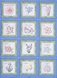 "Themed Stamped White Quilt Blocks 9""X9"" 12/Pkg-Flowers"