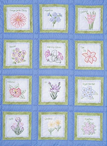 Jack Dempsey Themed Stamped White Quilt Blocks 9X9 12//Pkg-Flowers