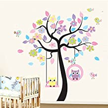 Colorful Tree Flowers Lovely Owls Birds Wall Decal Home Sticker Paper Removable Living Dinning Room Bedroom Kitchen Art Picture Murals DIY Stick Girls Boys kids Nursery Baby Playroom Decoration + Gift Colorful Butterflies