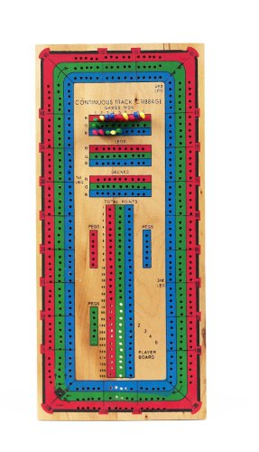 Wooden Deluxe 3 Track Cribbage Board with Storage Compartment by CHH