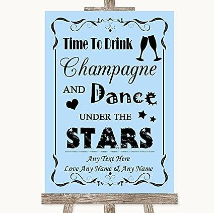 Letrero de boda azul colección Blue Drink Champagne Dance ...