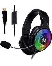 سماعة رأس للألعاب H350 باندورا RGB من ريدراجون - صوت محيطي 7.1 - ميكروفون قابل للفصل // أسود