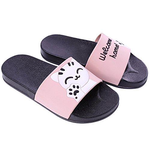 SITAILE Damen Herren Badeschuhe Sommer Pantoffeln Latschen Outdoor Sandalen Slippers Flip-Flops Männer Frauen Rutschfest Outdoor Katzen Damen-Rosa