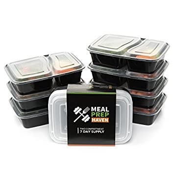 Meal Prep Haven MP 7D2C Stackable 2 Compartment Food Containers With Lids,  Set Of