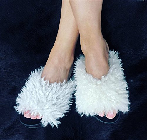 On Moira Sheep Slip Toe Robbin Flat Flip Flop Faux Slide Shearling White Sandal Open Cape White 34 Fur qFPfxxU5