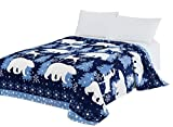 CaliTime Super Soft Throw Blanket, White Polar Bear Christmas Reindeer, Navy Blue, Queen