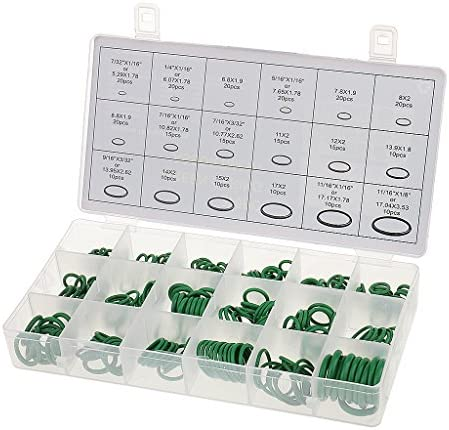 O-ring seals,Kit de bagues Anneaux de /étanche Pour Syst/ème de Climatisation De Voiture lzndeal 270 Pcs Joints Rondelle Caoutchouc Nitrile assortiment Joint Torique Kit NBR 18 Tailles en Vert avec Une Bo/îte Plastique Refermable