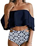 Tempt Me Women Two Piece Off Shoulder Ruffled Flounce Crop Bikini Top with Print Cut Out Bottoms Blue M