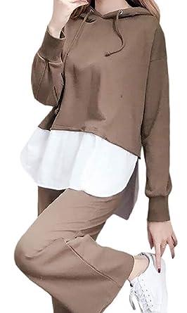ShuangRun Conjunto de chándal con Capucha para Mujer, Color sólido ...