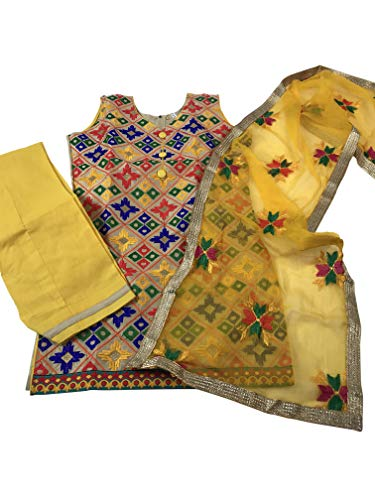 Party Wear Indian Kids Dress Girls Punjabi Salwar Suit Traditional Phulkari Work (Yellow & Gold Phulkari, Indian Size 28 Fits (5 Yr Old))