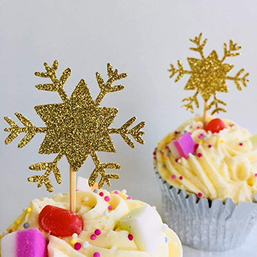 12 x Snowflake cupcake topper, winter wonderland, onederland party, Birthday party decorations, table decorations, baby shower party -