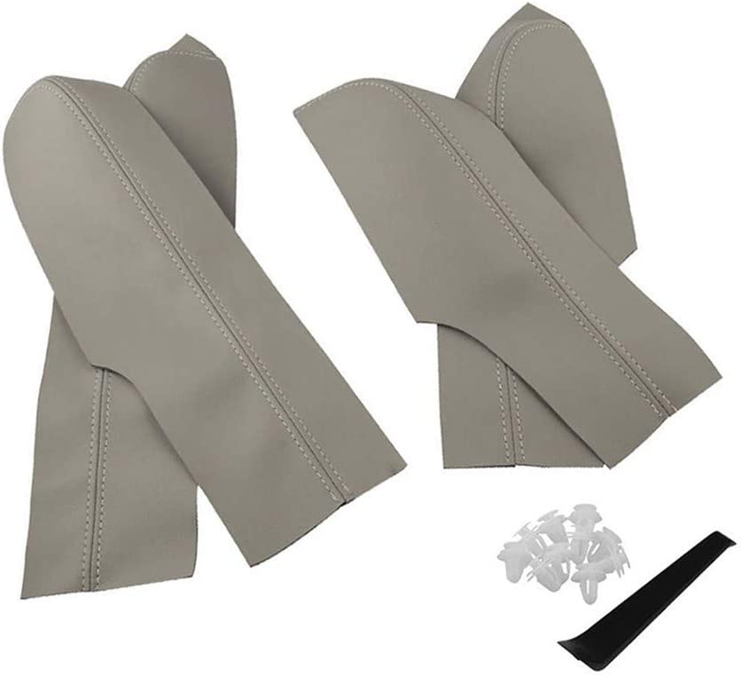 Armrest Cover Leather for Honda Civic Door Panel Armrest Real Leather for Honda Civic Sedan 06-11 Gray