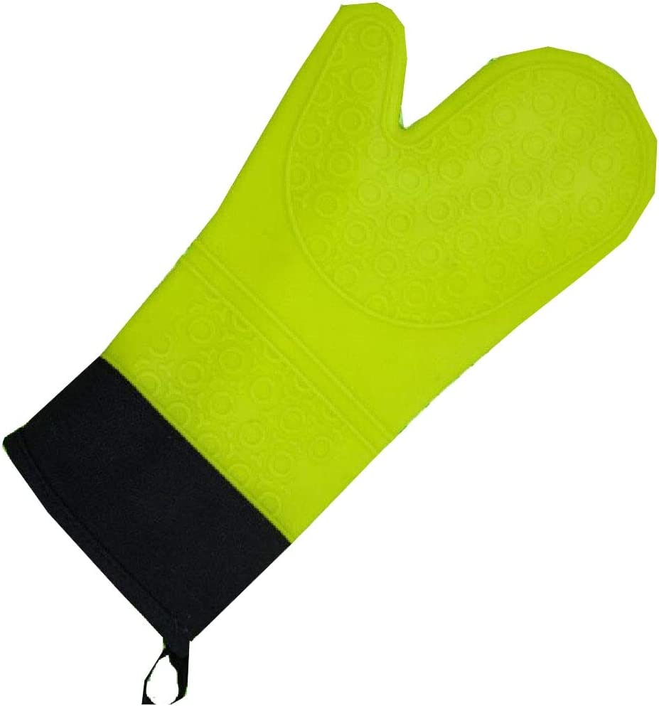Abetteric Insulated for Kitchen Cooking and Baking Convenient Hanging Loop Non-Slip Silicone with Quilted Liner Oven Hot Mitts Green One Size