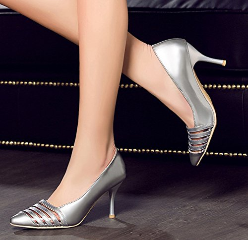 Aisun Womens Sexy Hollow Out Pointed toe Dress Slip On Stiletto High Heels Party Bridal Pumps Shoes Silver LnEpc2m3
